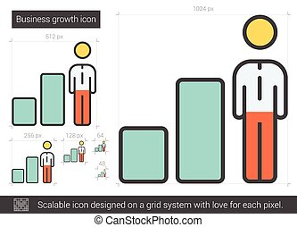 Business growth line icon. - Business growth vector line...