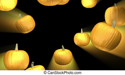 Falling pumpkins and light rays looping background -...