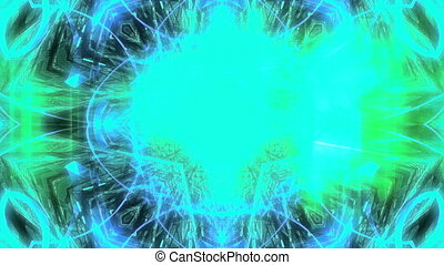 VJ color strobe looping abstract blue green background -...