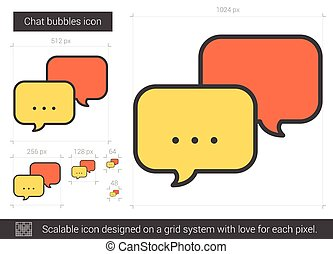 Chat bubbles line icon. - Chat bubbles vector line icon...