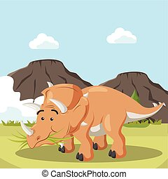 triceratops eating grass