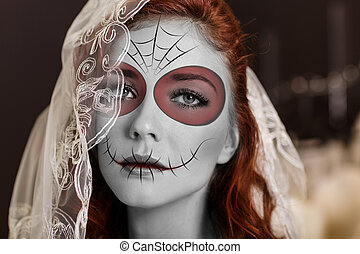 Young woman in day of the dead mask - Beautiful bride in day...