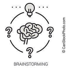 Brainstorming line infographic.