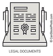 Legal documents line infographic.