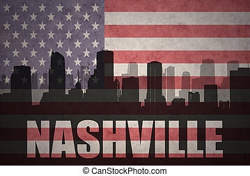 abstract silhouette of the city with text Nashville at the...