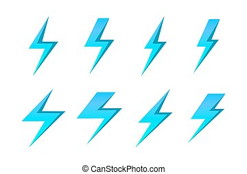 Set of blue vector lightnings isolated over white background