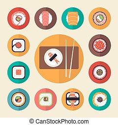 Japanese food sushi icons vector illustration set