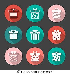 Gift boxes vector icons set over black