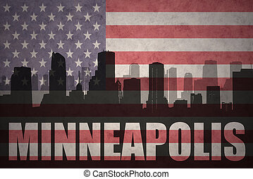 abstract silhouette of the city with text Minneapolis at the...