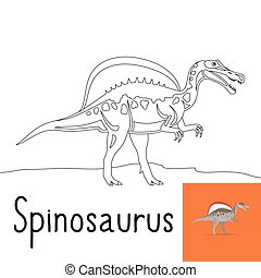 Coloring page for kids with Spinosaurus dinosaur and colored...