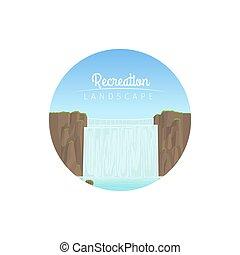 Recreation landscape circle icon - Recreation landscape...