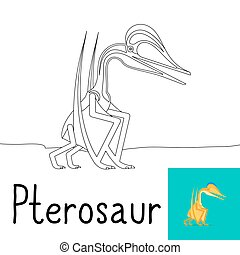 Coloring page for kids with Pterosaur dinosaur and colored...