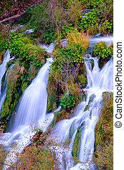 Beautiful waterfall at Plitvice National Park in Croatia