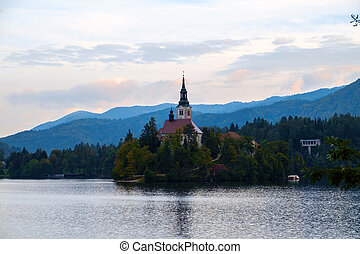 Bled with lake, island and mountains in background - Lake...