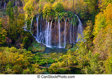 Waterfalls of Plitvice National Park in Croatia - Autumn...