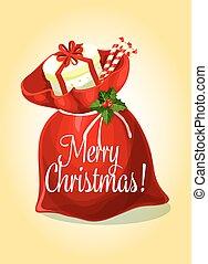 Christmas greeting card with santas gift bag - Christmas...