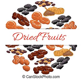 Dried fruits product emblem - Dried fruits decoration...
