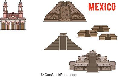 Mexican cultural ancient landmarks icons. Famous...