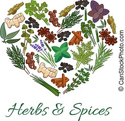 Herbs and spices icons in heart shape emblem. Vector spicy...