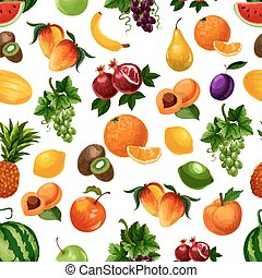 Vector pattern of fresh fruits with leaves. Bunches of white...