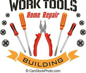 Work tools icons for home reapir emblem - Home repair emblem...