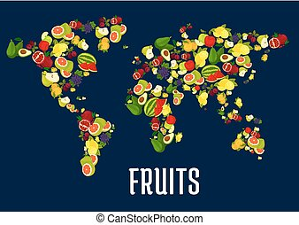 Map of world continents designed of fruits