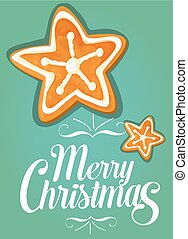 Christmas gingerbread cookie star festive card - Christmas...