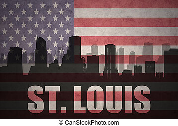 abstract silhouette of the city with text St. Louis at the vintage american flag