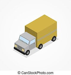 Isometric truck. - Isometric truck with yellow body, trucks...