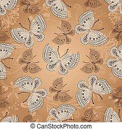 Seamless beige pattern with butterflies