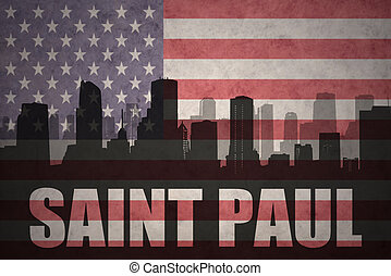 abstract silhouette of the city with text Saint Paul at the...
