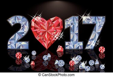 Ruby heart and diamond new year 2017, vector illustration