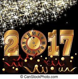 Golden 2017 New year invitation wallpaper, vector...