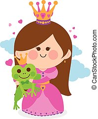 Princess and a magic frog fairytale