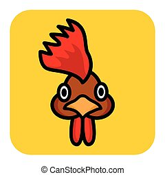 Isolated rooster head