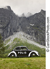Norway landscape. Troll wall massif mountain Trollveggen....
