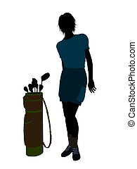 Female Golf Player Illustration Silhouette - Female golf...