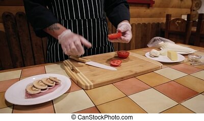 Cooking meat in French, tomato, onion, meat, raw