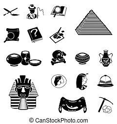 archeology black icons - Vector illustration of different...