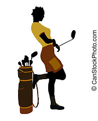 African American Female Golf Player Illustration Silhouette...