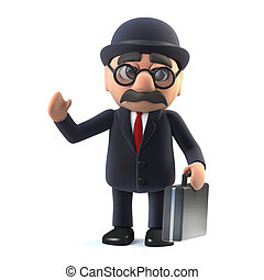 3d Bowler hatted British businessman with briefcase is...