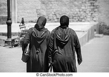 Porter,  dkellaba,  Marrakech, deux, marocain, Femmes