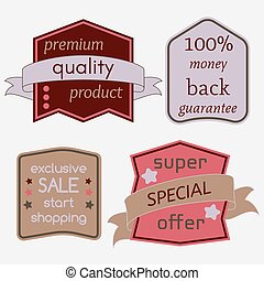 Badges-35 - Set of Vector Badges with Ribbons. Web stickers...