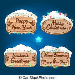 New year and christmas wooden boards