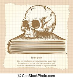 Sketch of human skull on book vector. Esoteric concept on...