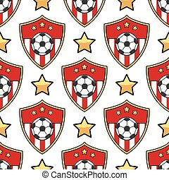 Sport seamless pattern soccer. Football background with ball...