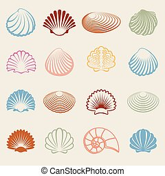 Colorful sea shells silhouettes set on white bckground....