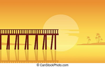Silhouette of seaside with pier landscape