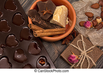 Homemade chocolate candys, cocoa, cocoa butter, nuts,...