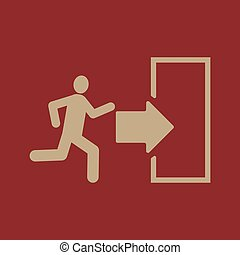 The exit icon. Emergency Exit symbol. Flat Vector...